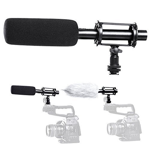 Condenser Shotgun Microphone 3-pin XLR Output on DSLR Camera With 2 Shock Mount