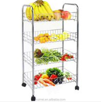 4 TIER CHROME KITCHEN FRUIT VEGETABLE FRUIT DISPLAY SHLEF TROLLEY CART