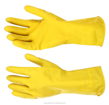 Yellow Flock Lined Latex Household Kitchen Cleaning Dishwashing Rubber Gloves