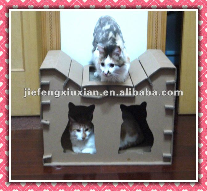 Popular Selling Corrugated Cardboard Cat House,pet house