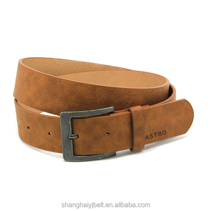 Fashion simple yellow brown pu leather men wide belt