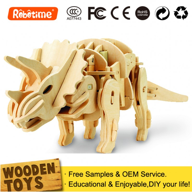 DIY 3D Wooden Puzzle Toy Dinosaur Model kits for Children