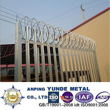 Palisade Fence with post & razor wire coil,galvanized security fence