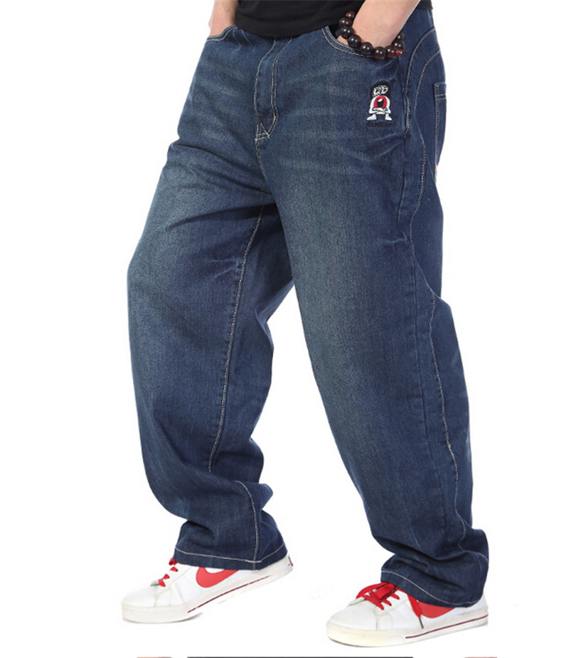2015 New Mens Fashion Hiphop Pants Hip Hop Skateboard Jeans Stylish Loose Baggy Denim Trousers Plus Size 30-46