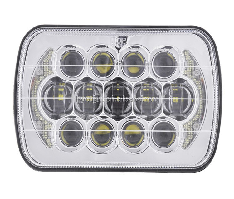 "LOYO Patent! Osram 105w 85w 5x7 7"" square jeep led headlights for truck with halo angel eyes"