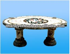 Marble Inlay Table for Living Room