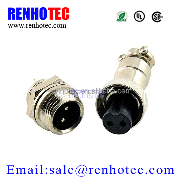 2 PIN 12mm GX12 2 Screw Aviation Connector Plug The aviation plug Cable connector Regular plug and socket-in Connectors