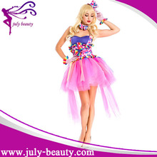 Hot selling stage masquerade girls clown costume