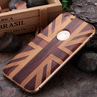 Plum Buckle Aluminum Bumper wood Case For iPhone 6, For iPhone 6 Mirror Back Cover Hybrid Case