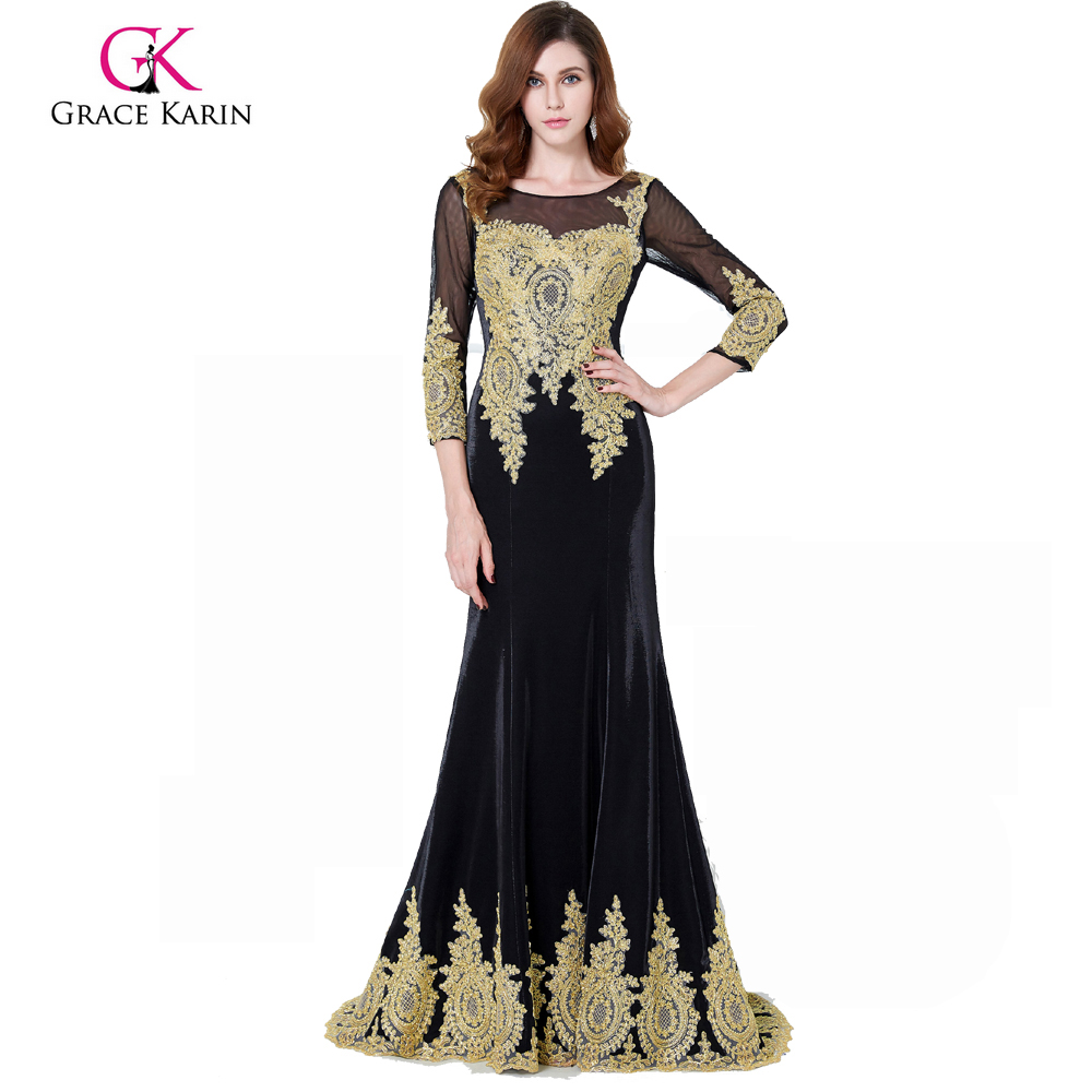 Grace Karin 3/4 Sleeve Golden Appliques Embellished Black Evening Dress Long Sleeves GK000117-1