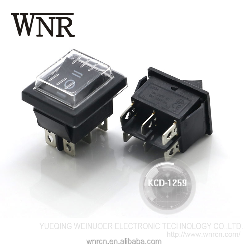 High quality WNRE 6 pin square kcd3 switch KCD-1259 KCD Waterproof Rocker Switch