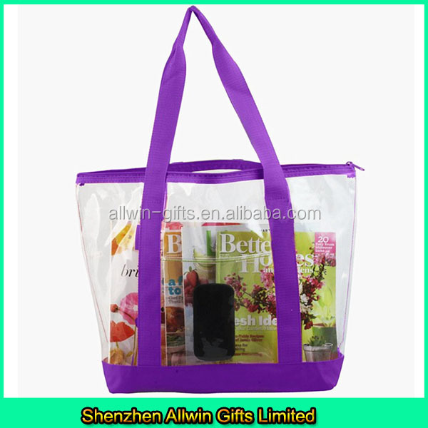 Clear zipper PVC tote bag/transparent shopping bag with color trim and bottom