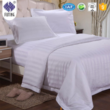 100% cotton for four seasons hotel bed sheet white color strips design duvet cover set