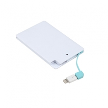 Backup Battery Case Two Cable 2000mah Card Power Bank Portable Charger