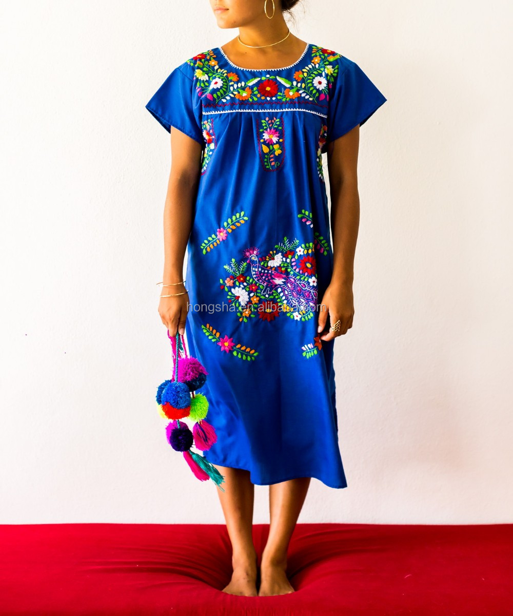 boho mexican embroidered wholesale cotton embroidery dresses HSD5536