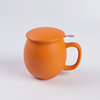 Bright color office used round bottom chinese tea coffee ceramic cup with filter