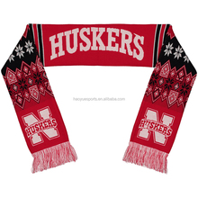 Custom Made Stripe Pattern USA Plain Red Reversible Soccer Scarf