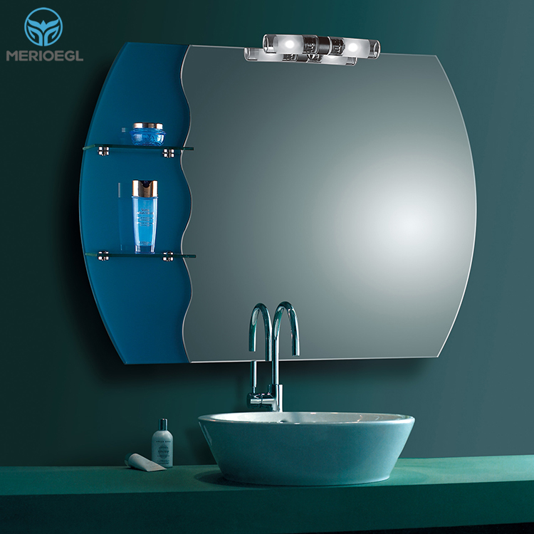 Fashional designed decorative mirror light bathroom mirror with shelf