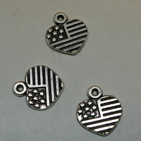 DIY alloy the Stars and the Stripes heart pendant charm A7102