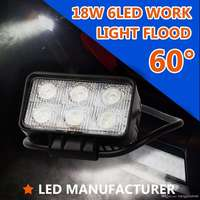 High Quality Super Bright 60 Flood Beam White 18W 6 LED Work Light Bar Motorcycle Car 4WD SUV 4x4 Truck ATV UTV Off Road