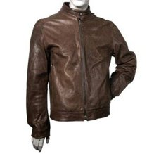 leather zip front racing jacket
