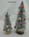 Offwhite fiber optic Christmas tree with color mini ball ornament