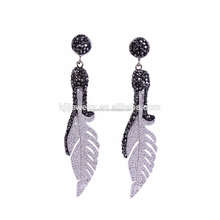 in stock!fashion copper alloy long dangle wings Earring with ZC beads,paved zircon silver or gold plated stud earrings