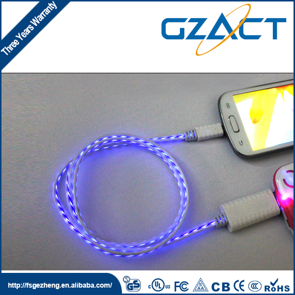 Cool lighting el wire flashing usb cable in mobile phone cables