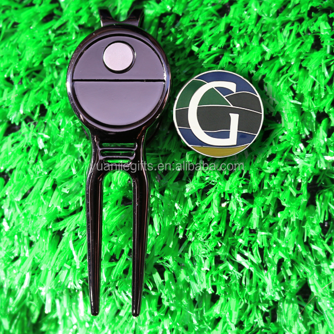 Golf products black magnetic divot tool ball markers with custom logo