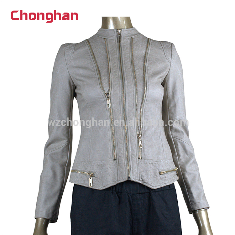 Chonghan China Factory 4XL Plus Size Gray Colour Women Leather Motorcycle Jacket