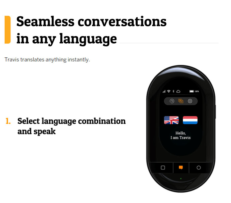 Travis touch translator Real-time translation Travis AI Two Way Instant Digital Voice Translator 105 Languages
