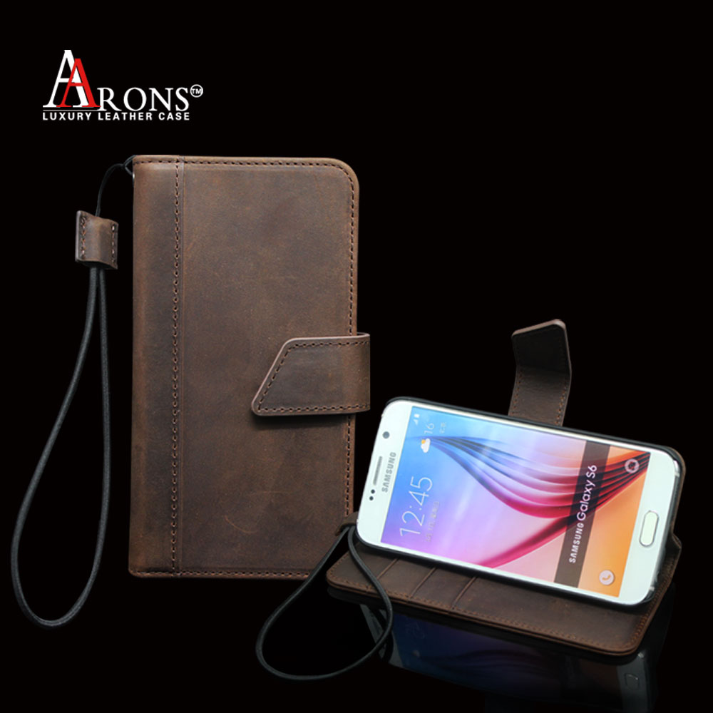 Compact small and easy to carry leather mobile phone case wallet housing for samsung galaxy s6