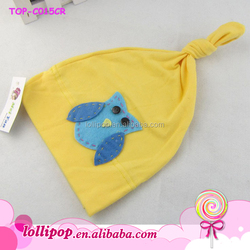 New design lovely yellow hat for cute baby plain 100% cotton wholesale
