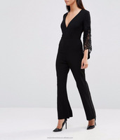 2016 new ladies long sleeve v-neck sexy black jumpsuits