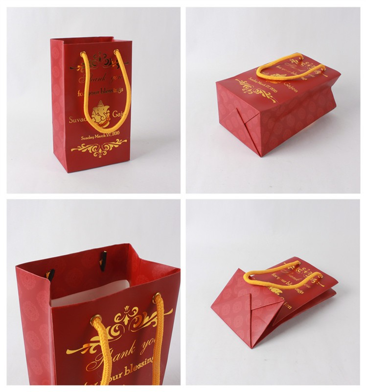 Printed foil logo ribbon paper shopping bag, collapsible shopping bag with cotton handle
