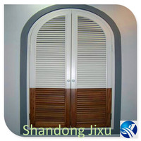Horizontal opening wooden arched window plantation shutters from China