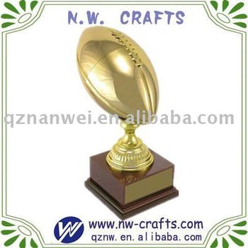 Gold plated football trophy awards, sports trophy medal
