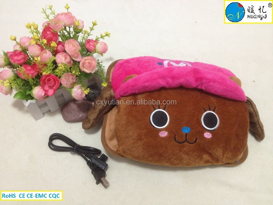 Zhejiang cartoon shape electric rechargeable hot water bag passed CE,ROHS and CQC certification