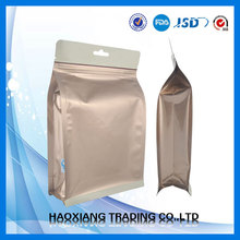 Competitive flat bottom gold foil packaging bag for food