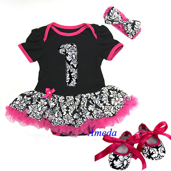 Baby Black Hot Pink Damask 1st Bodysuit Pettiskirt Crib Shoes Headband 0-18M