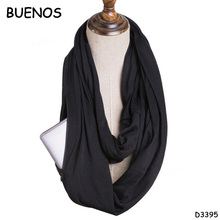 Best Sale Storage Solid Color Collar Warm Jersey Hip Infinity Scarf With Zipper Pocket