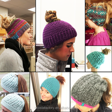New Arrival Crochet Messy Bun Beanie