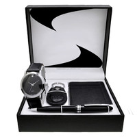 Alibaba China supplier promotional business men's watch gift sets with key chain ,wallet, pen