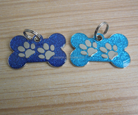bone shape with dog paw logo dog tag glitter dog tag
