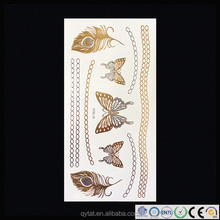 Wholesale High Quality Sexy Body Makeup Tattoo Gold& Silver Metallic Temporary Tattoo Sticker