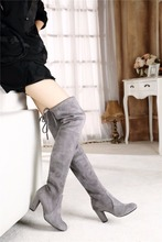 genuine leather suede women sey high heel long thigh over the knee boots 2017