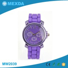 Hot selling new design colorful strap silicone simple watches for women