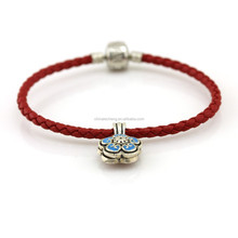 Slim Cord Genuine Leather Bracelets With 925 Sterling Silver Attractive Clasp and Nice Charms For Wholesale on Alibaba(SLY027)