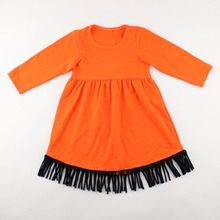 Top Selling Cotton <strong>Girls</strong> Long Sleeve Striped Fringe <strong>Dress</strong>