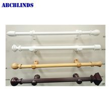 Home decor double wooden curtain rod